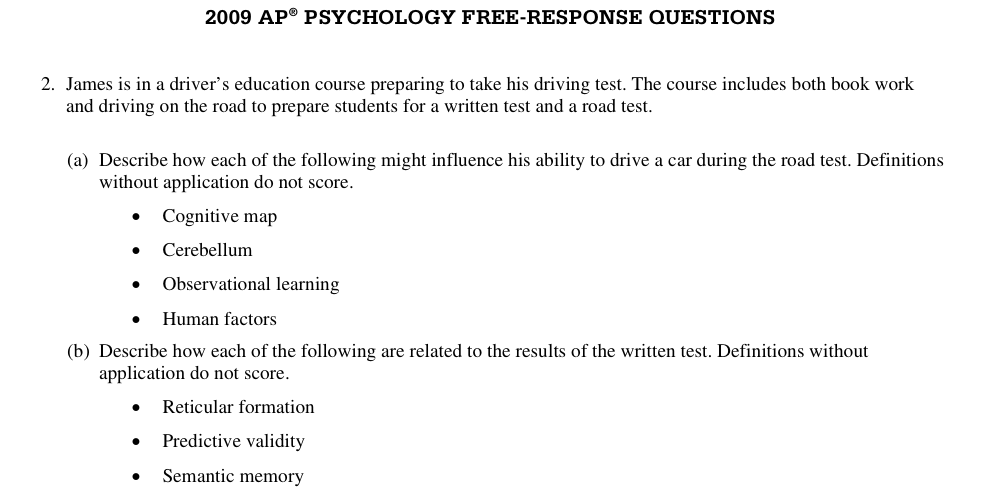 ap psychology frq 2008 Ap psychology free response questions below is a list of all of the free response questions on the may ap psychology exam, dating back to 1993.